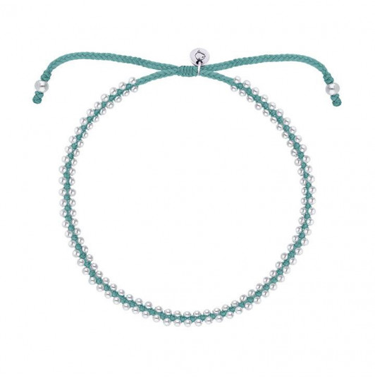 Turquoise green braided bracelet with beads