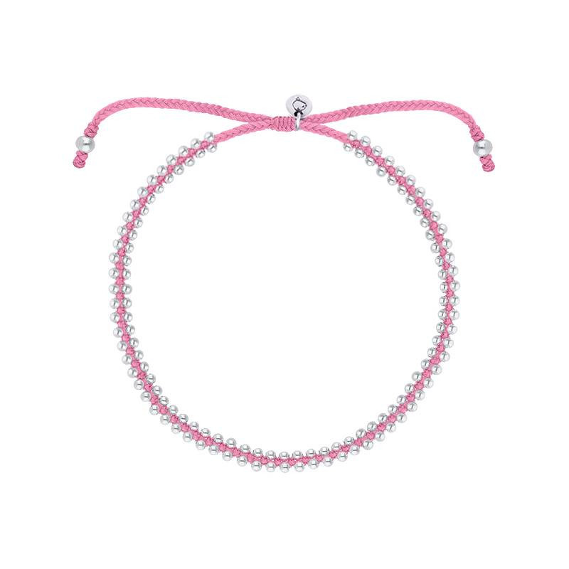 Pink braided bracelet with beads