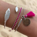 Open bangle bracelet with asymmetric feathers