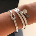 925 Silver bangle bracelet with bow