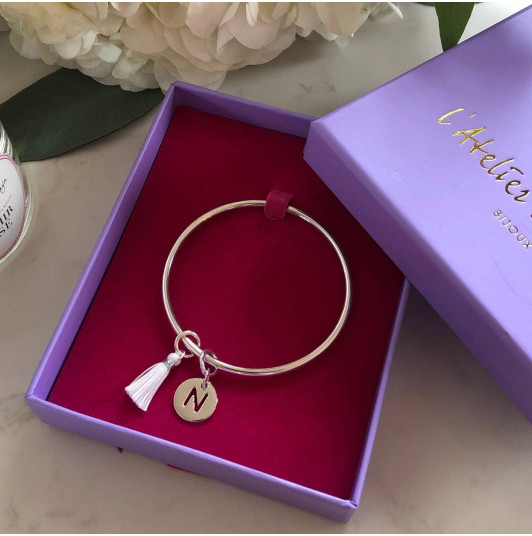 925 silver bangle bracelet with perforated initial medal & pompom