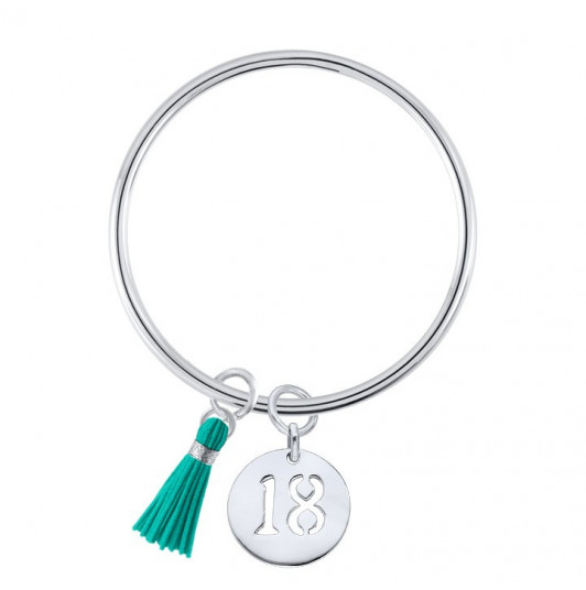 Bangle bracelet with a perforated number medal and pompom