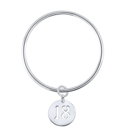 Bangle bracelet with a perforated number medal