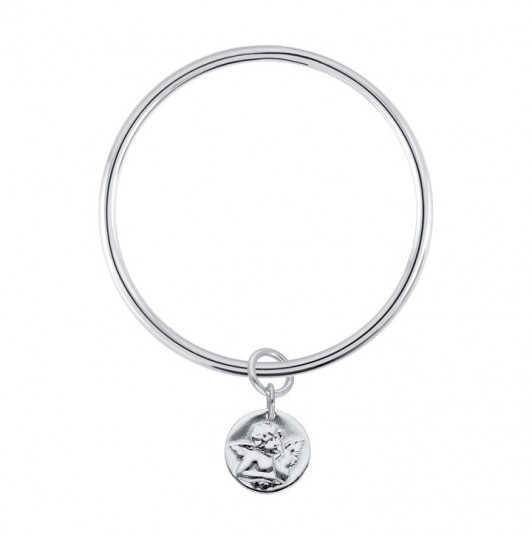 Silver bangle bracelet with angel charm for children