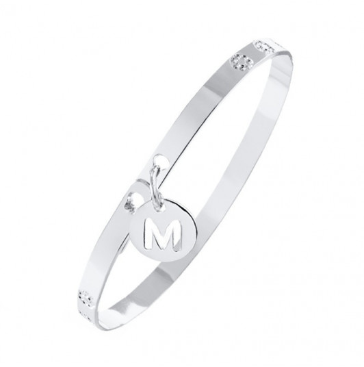 Lock bangle with initial medal