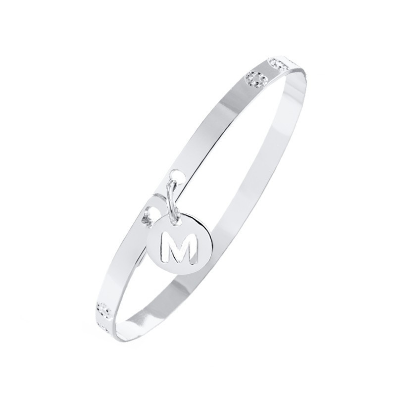 Flower lock bangle with initial medal