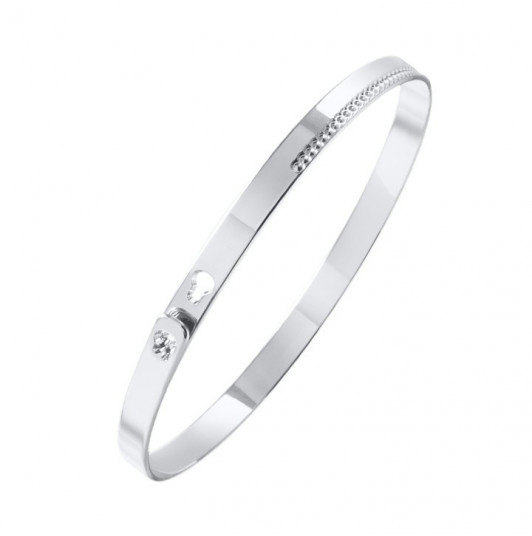 Dotted line border lock Bangle