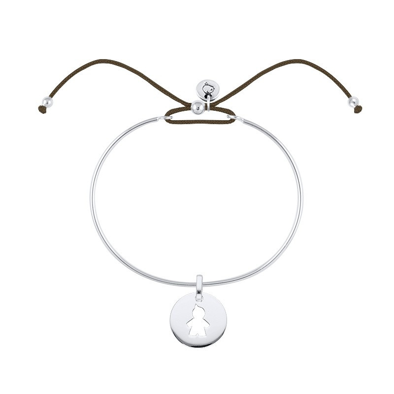 Tie bangle bracelet with boy silhouette medal