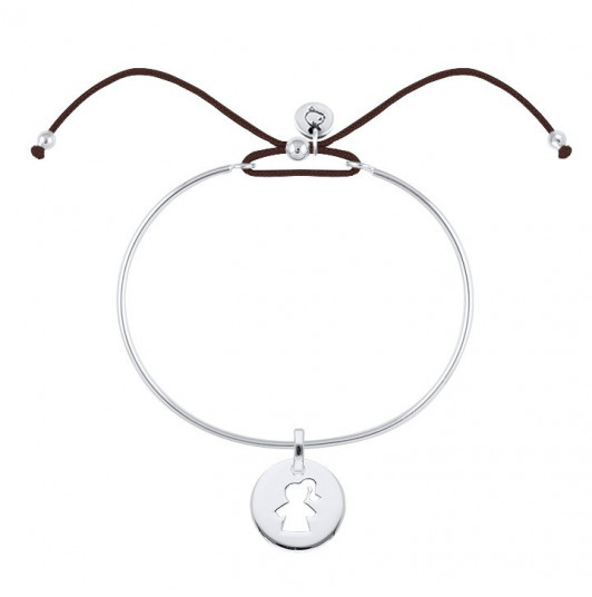 Tie bangle bracelet with girl silhouette medal