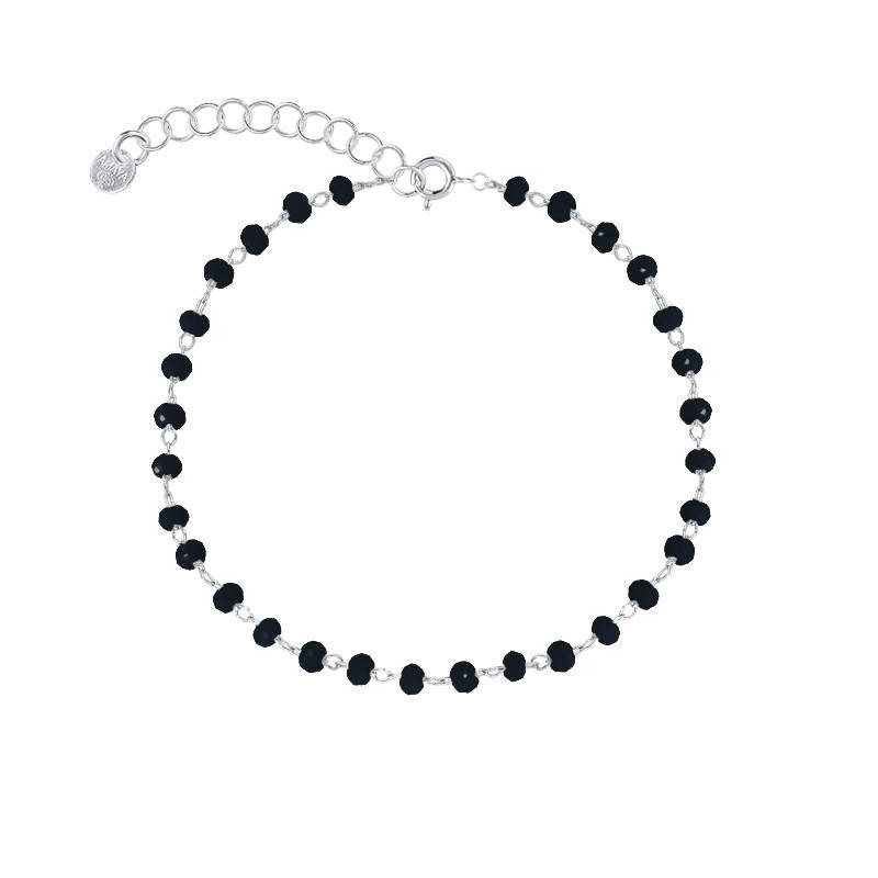 925 silver chain bracelet with faceted black beads