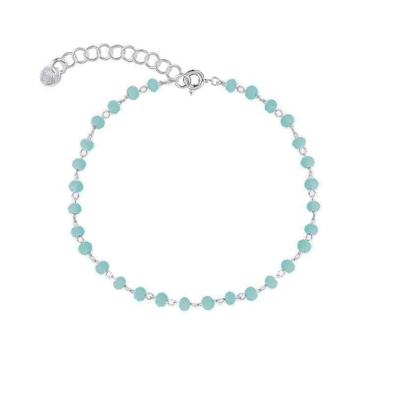 925 silver chain bracelet with faceted turquoise beads