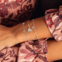 925 Silver beaded chain bracelet with Moonstone medal