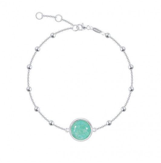 Beaded chain bracelet with Amazonite medal