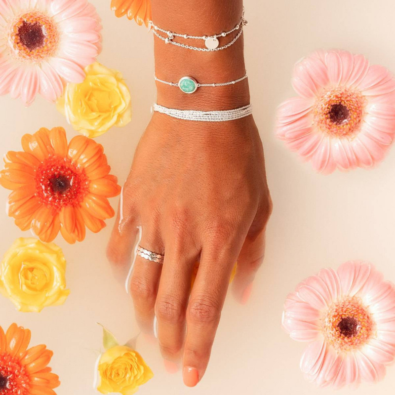 925 Silver beaded chain bracelet with Amazonite medal