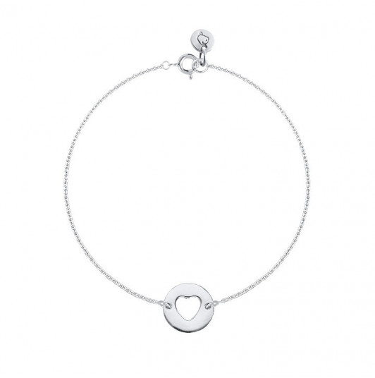 Chain bracelet with perforated heart medal