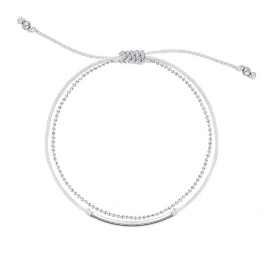 Double layer grey tie and chain bracelet