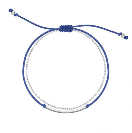 Double layer navy blue tie and chain bracelet