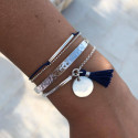 Double layer navy blue tie and 925 silver chain bracelet