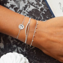 925 Silver white double layer tie and chain bracelet