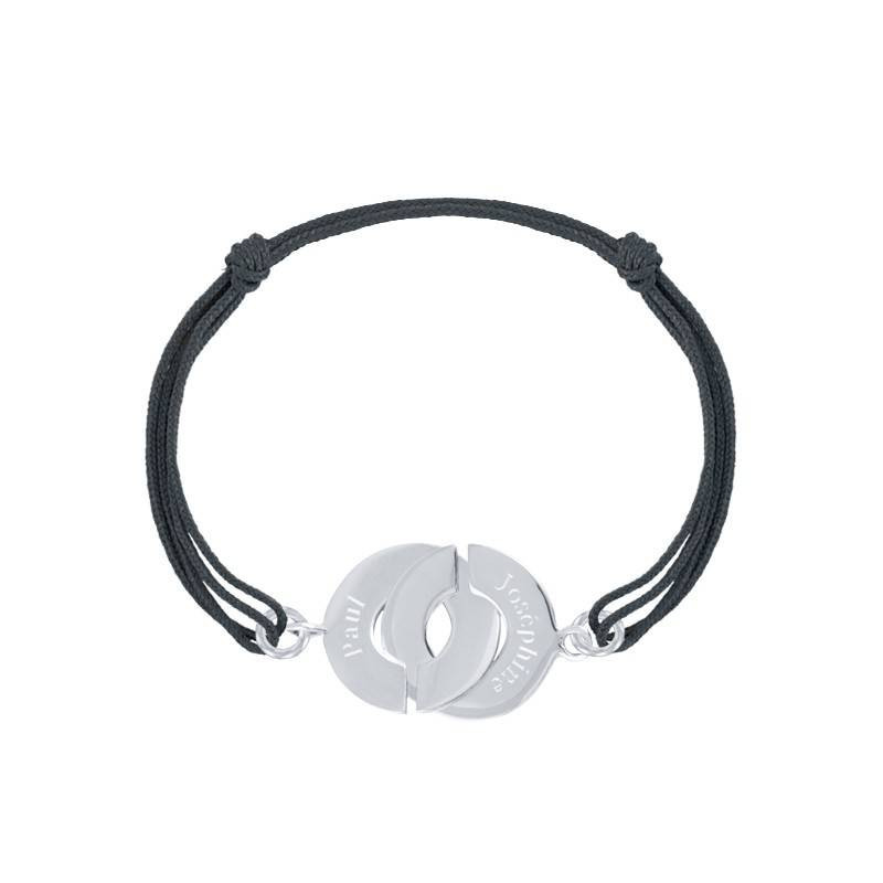 Tie bracelet with large silver cuffs for men