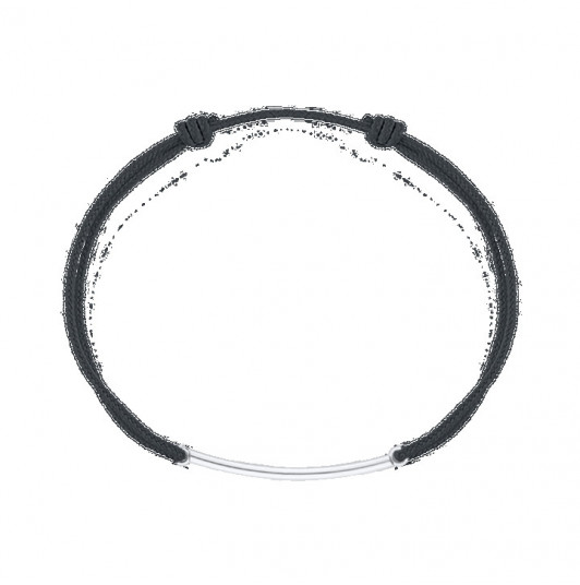 Tie bracelet with 925 silver curved tube for men