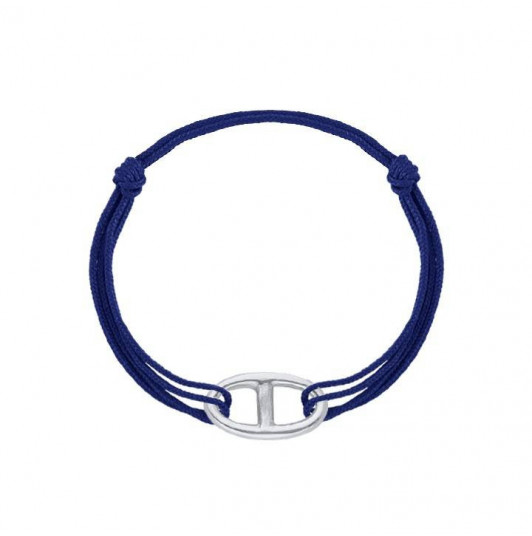 Tie bracelet with marine link for men
