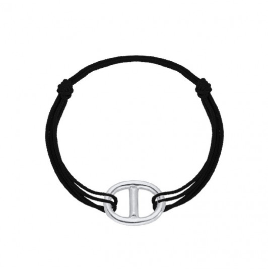 Tie bracelet with large marine link for men