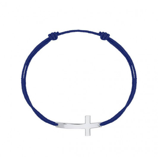Tie bracelet with large cross for men