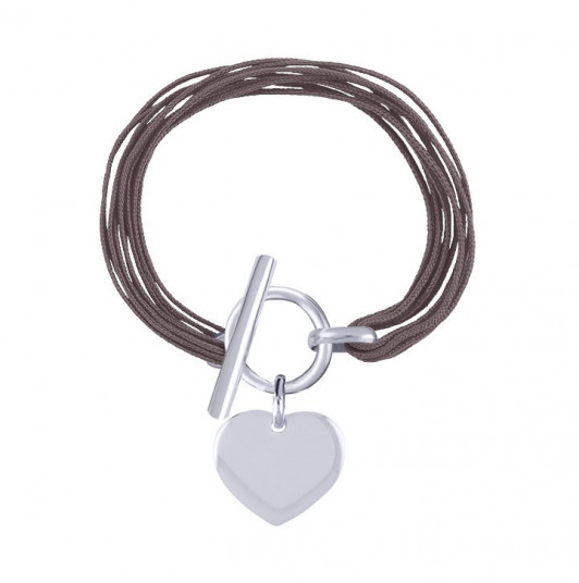 Multiple tie bracelet with T toggle and heart