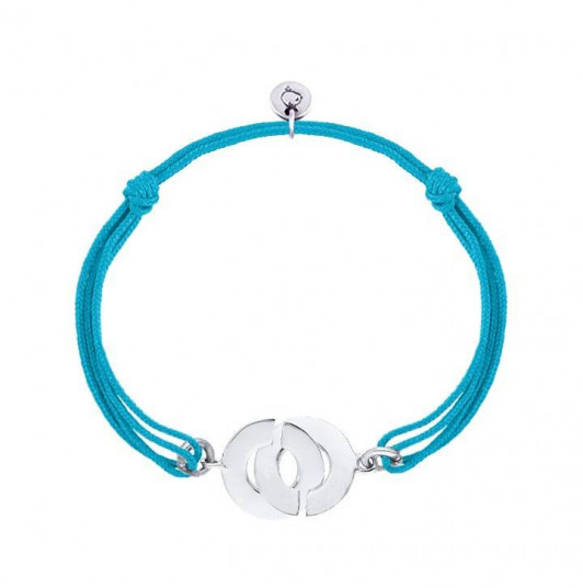 Tie bracelet with silver handcuffs