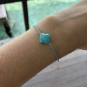 Tie bracelet with turquoise blue agate clover