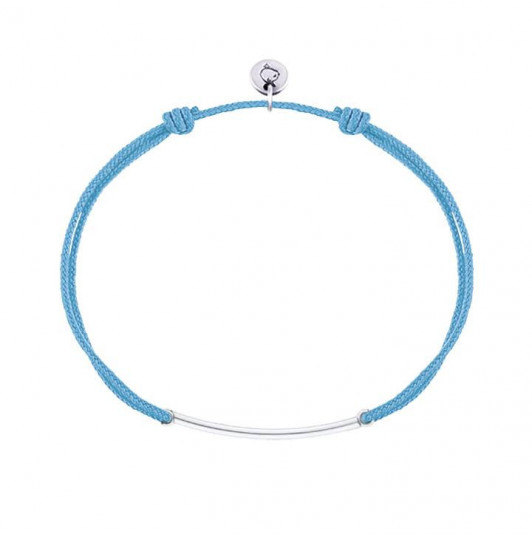 Tie bracelet with 925 silver curved tube