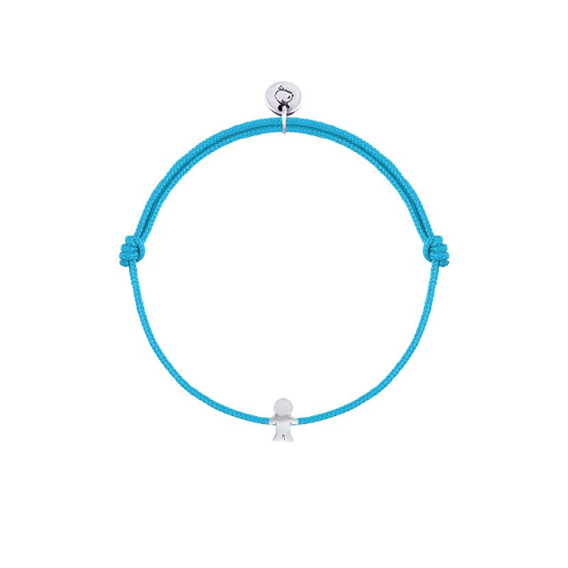 Tie bracelet with small boy silhouette