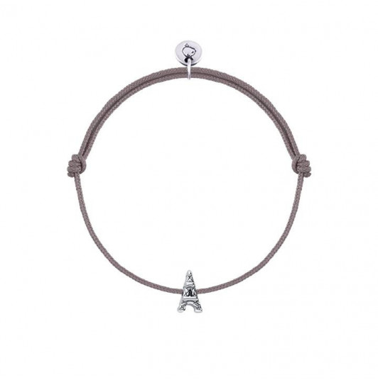 Tie bracelet with 925 silver mini eiffel tower