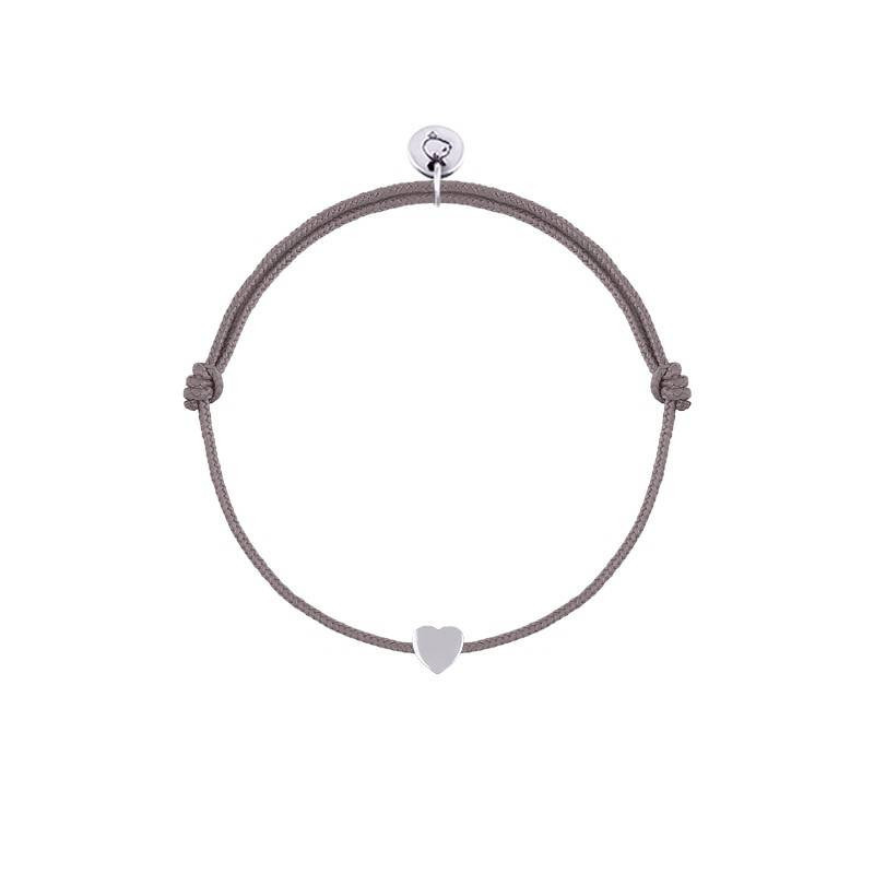 Tie bracelet with silver mini heart