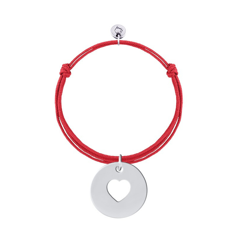 Tie bracelet with centred perforated heart medal