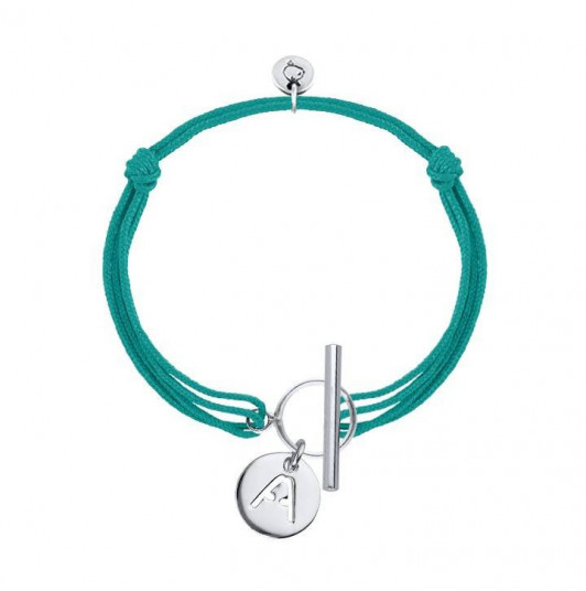 T toggle bracelet with perforated initial letter