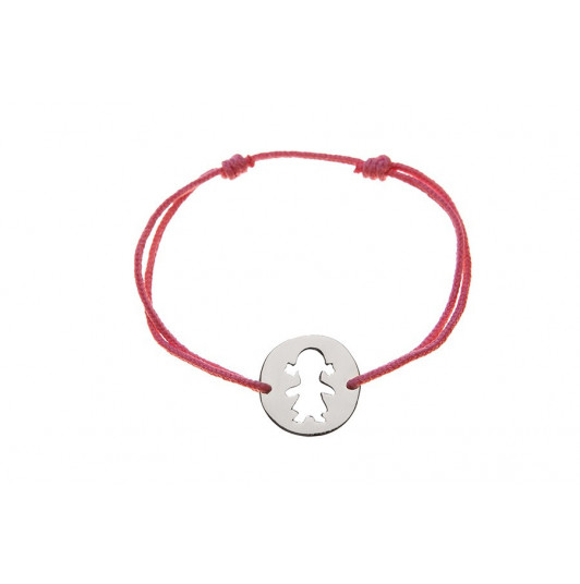 Tie bracelet with perforated girl medal for children