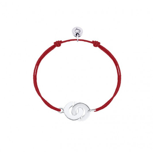 Tie bracelet with silver small handcuffs for children