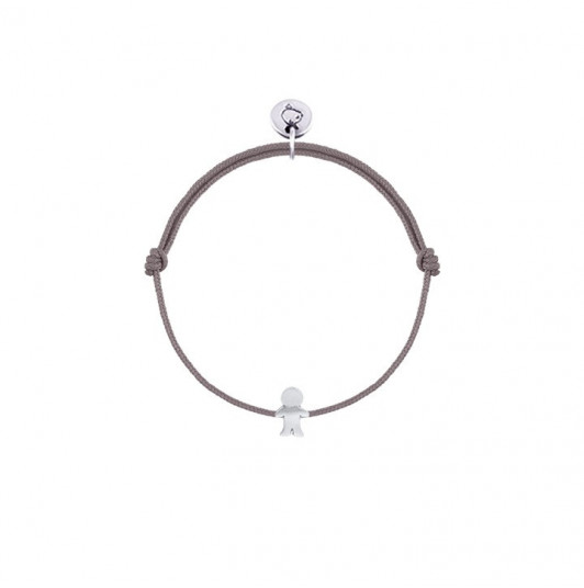 Tie bracelet with small boy silhouette for children