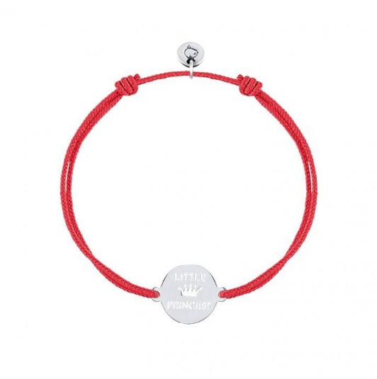 Tie bracelet with little princess medal for children