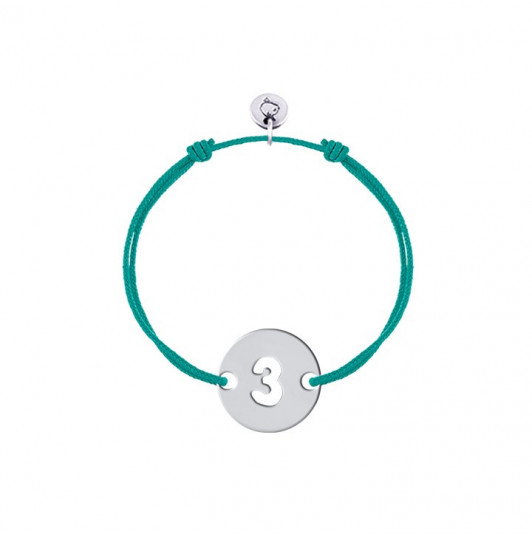 Tie bracelet with perforated number for children
