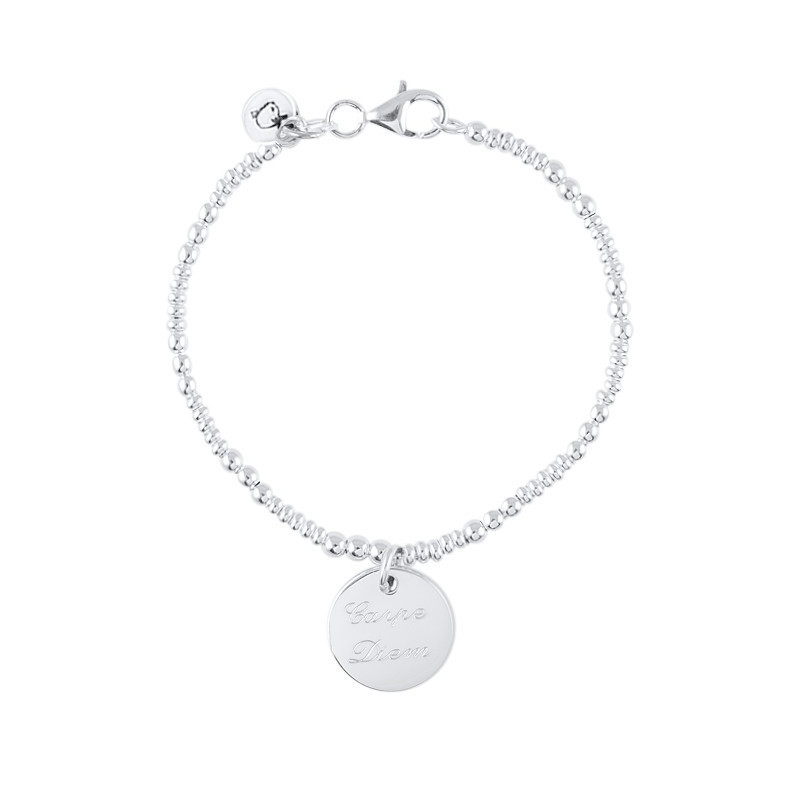 Silver beads and medal bracelet