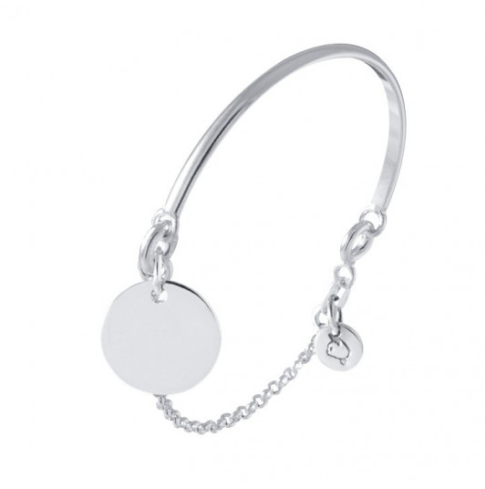 Half bangle and chain bracelet with medal for children
