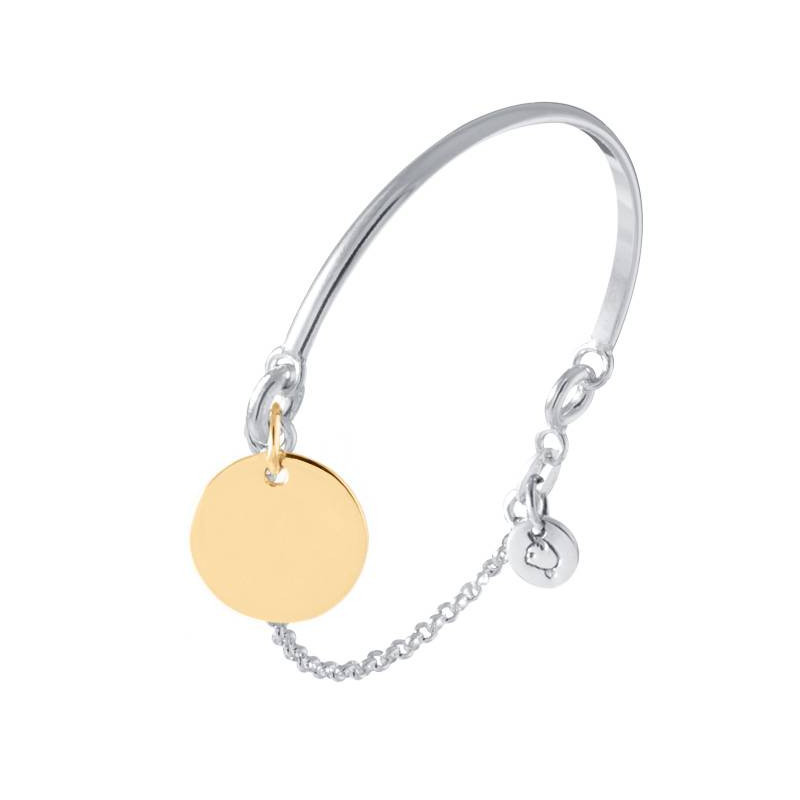 Half bangle and chain bracelet with gold-plated medal