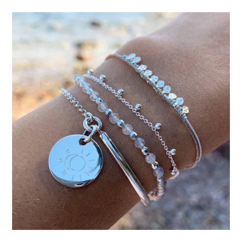 925 Silver half bangle and chain bracelet with medal