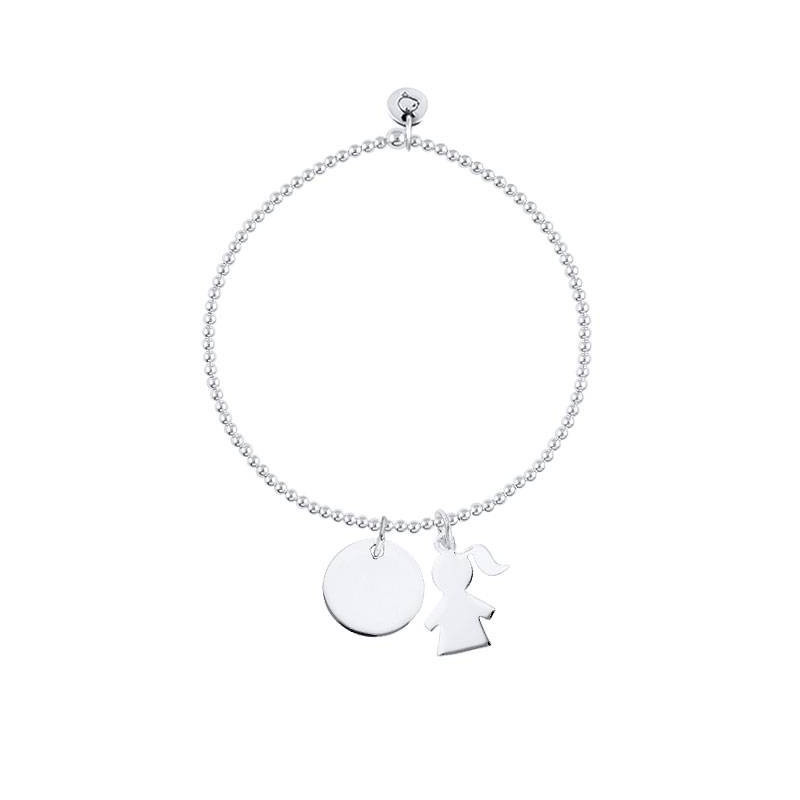 Beads bracelet with medal and silhouette