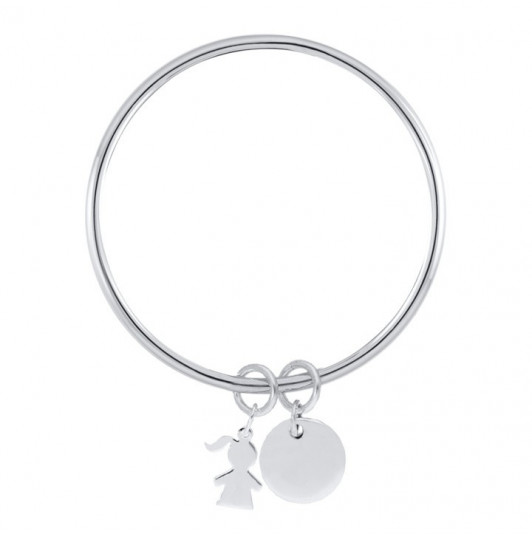 Silver bangle bracelet with medal and silhouette