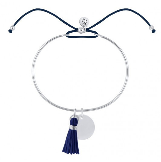 Tie bangle bracelet with medal and pompom