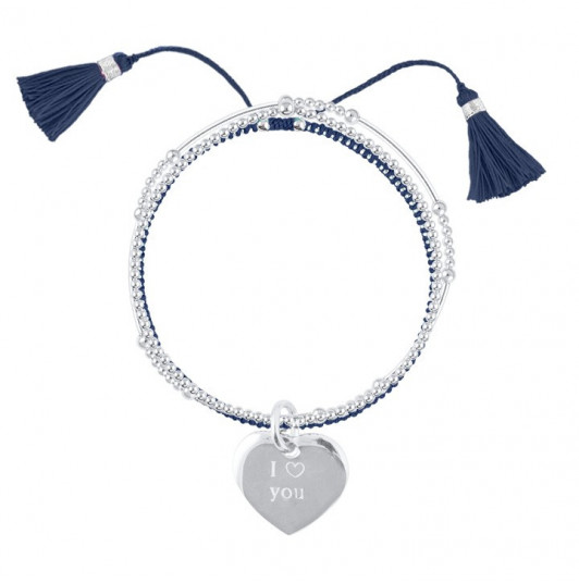 Triple beads bracelets and heart medal